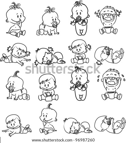 Vector illustration of black and white baby boys and baby girls - stock vector
