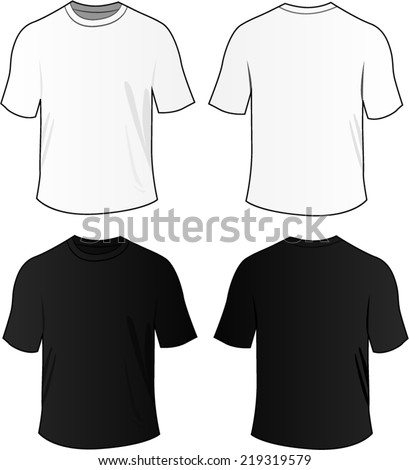 Vector illustration of black and white blank tee shirts - stock vector