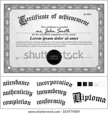 Vector illustration green certificate template horizontal stock vector illustration of black and white certificate template horizontal additional design elements yadclub Choice Image