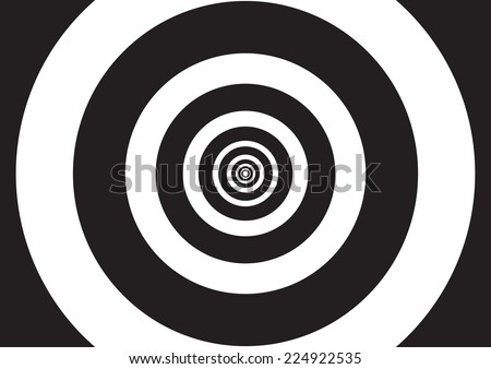 Vector illustration of black and white concentric circles with optical illusion effect, like a tunnel of lights - stock vector