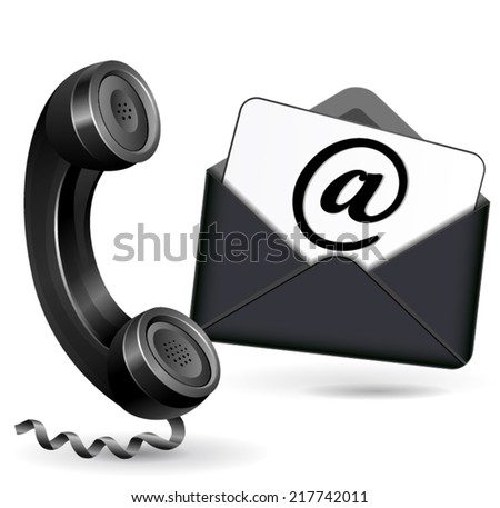 Vector illustration of black and white contact icons