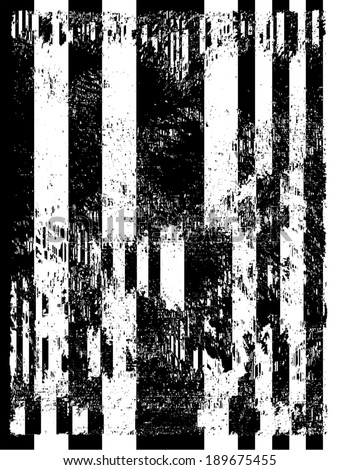 Vector illustration of black and white glitch distorted pattern. - stock vector