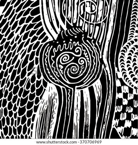 Vector illustration of black and white hand drawn graphic pattern / background. Checkers, lines, distressed, distorted, plant, grunge image.