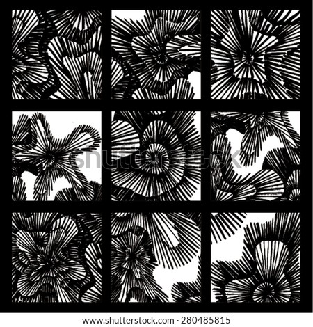 Vector illustration of black and white hand drawn graphic pattern / background. Spirals, lines, distressed, distorted, grunge image. Doodle. 6 patterns in one image. - stock vector