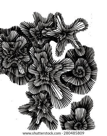 Vector illustration of black and white lichen pattern background. Hand drawn, doodle backdrop.