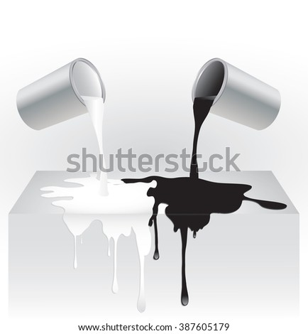 Vector illustration of black and white paint dripping from cans onto background surface.