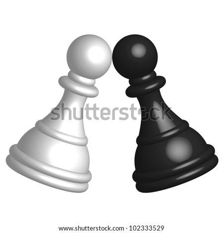 Vector illustration of black and white pawn - stock vector