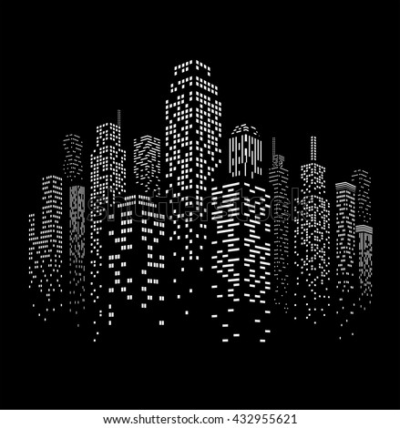 Vector illustration of black and white skyscrapers with black buildings and white windows all