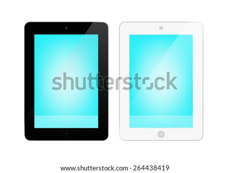 Vector illustration of black and white tablet screen or tablet monitor - stock vector