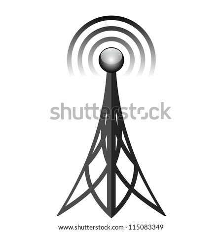 Vector illustration of black antenna - stock vector