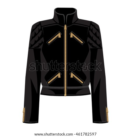 Vector Illustration Black Bomber Jacket Isolated Stock Vector