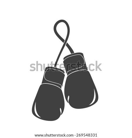 Vector illustration of black boxing gloves, mitt, mitten icon on white background. Simple. - stock vector