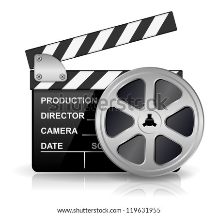 Vector illustration of black clapper board for film, movie and cinema production isolated on white background with reflection effect - stock vector