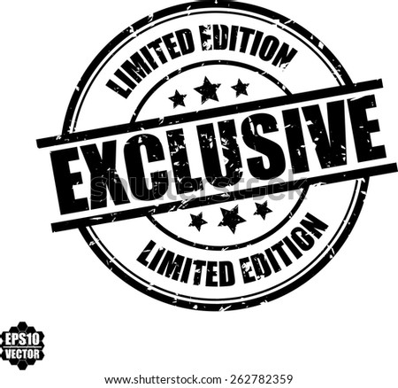 Vector illustration of black exclusive stamp on white background - stock vector