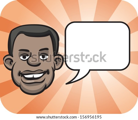 Vector illustration of black face with speech bubble. Easy-edit layered vector EPS10 file scalable to any size without quality loss. High resolution raster JPG file is included. - stock vector
