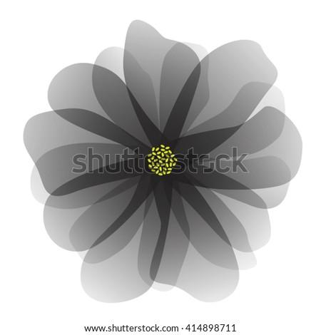 vector illustration of black flower - stock vector