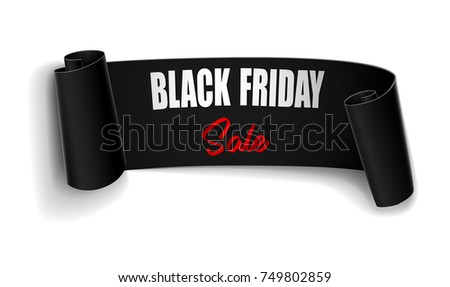 Vector illustration of Black Friday sale background with black ribbon banner