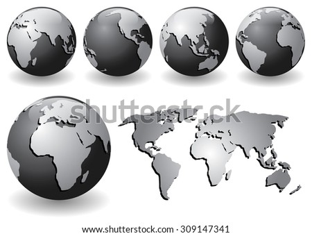 Vector illustration of black globes with silver continents