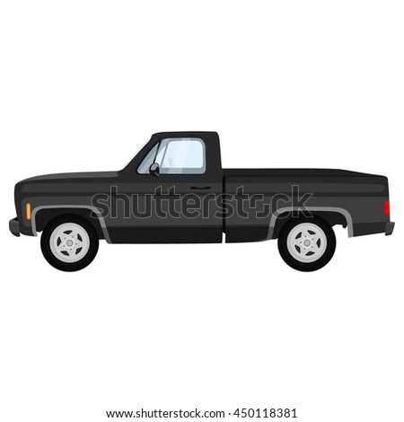 Vector illustration of black, grey pick-up truck. Classic pickup truck.
