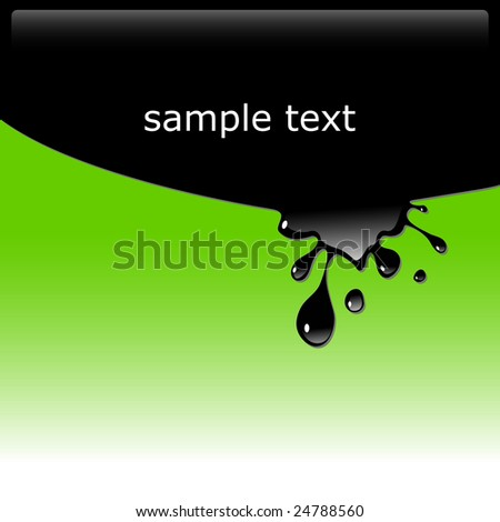 Vector illustration of black ink blot on green background with copy space. Glossy splash, droplet. - stock vector