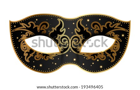 Vector illustration of black mask with gold decoration - stock vector
