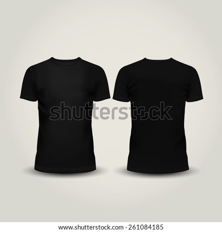 Vector illustration of black men T-shirt isolated on a light background - stock vector
