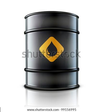 Vector illustration of black metal oil barrel on white background - stock vector