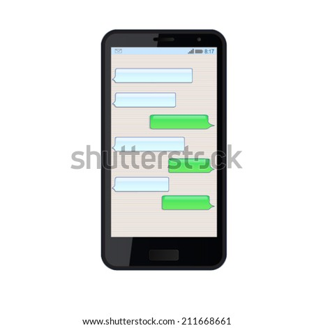 Vector illustration of black modern  smart phone. Smartphone sms chat template with balloons for your text.  - stock vector