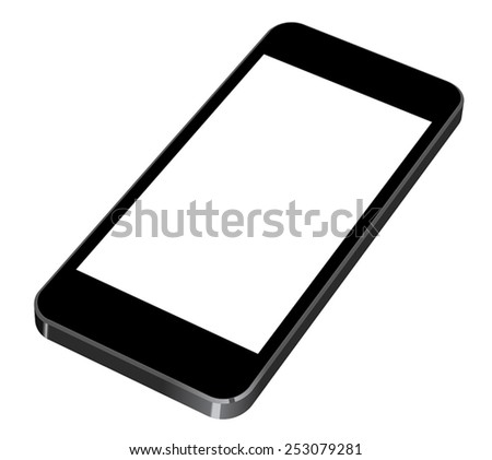 Vector illustration of black modern smartphone with blank screen lies on the surface, isolated on white background. iPhon style - stock vector