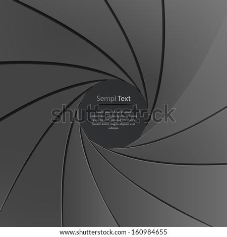 Vector illustration of black paper camera aperture - stock vector