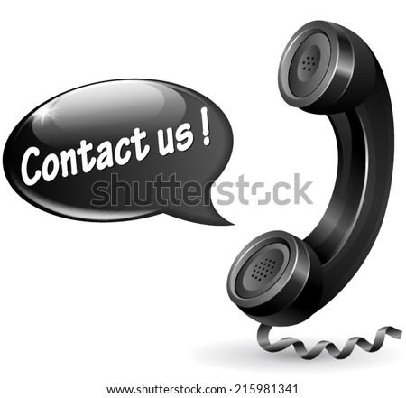 Vector illustration of black phone with speech bubble for contact us - stock vector