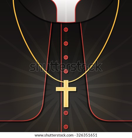 Vector illustration of black priest's costume with christian cross. Background with catholic pastor's robe  - stock vector