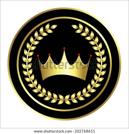 Vector illustration of Black print with a gold crown