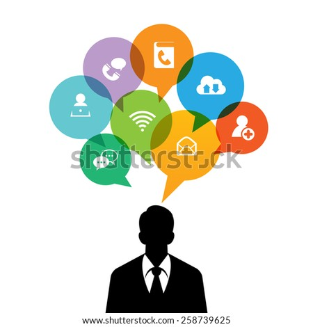 Vector illustration of black silhouette of a man with talk bubbles of media icons. - stock vector