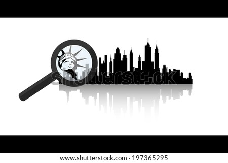 vector illustration of black silhouette of New York City with reflection and magnifier - stock vector