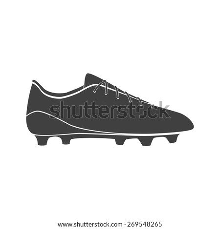 Vector illustration of black soccer shoes, american football boots icon on white background.  - stock vector