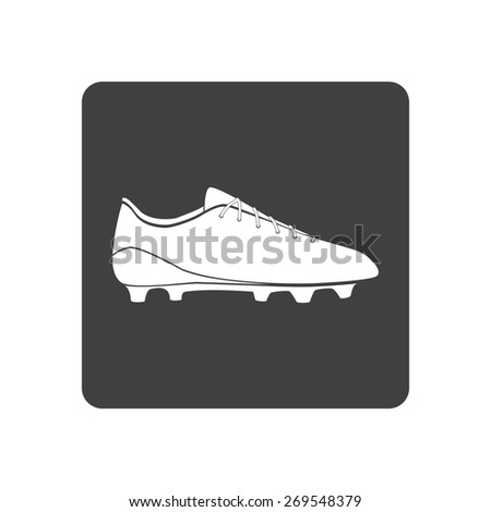 Vector illustration of black soccer shoes, american football boots icon on white background. Button. - stock vector