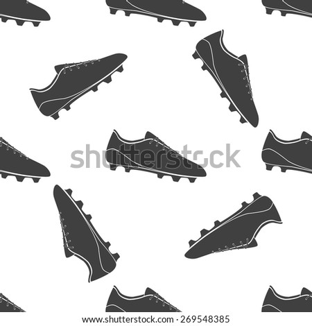 Vector illustration of black soccer shoes, american football boots on white background. Seamless pattern. - stock vector