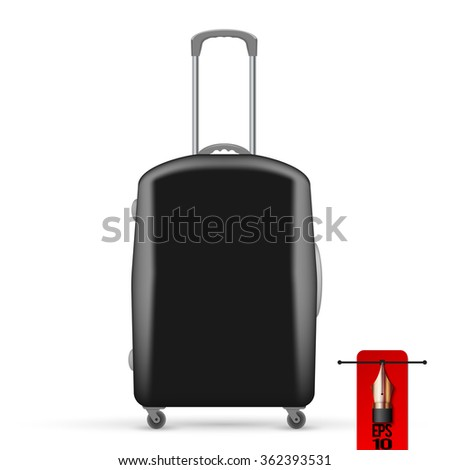 Vector illustration of black travel bag. front view - stock vector