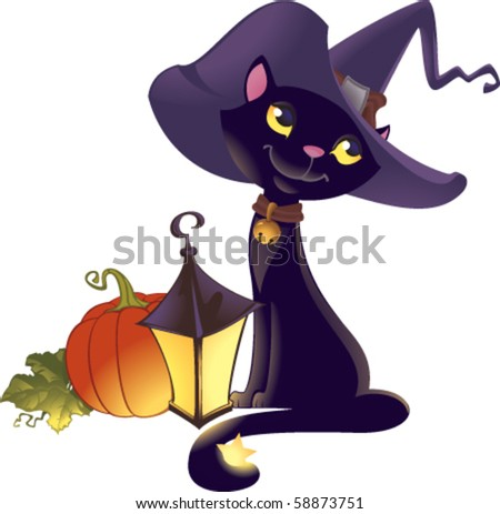 Vector illustration of black witch's cat, pumpkin and lantern. - stock vector