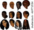 Vector Illustration of Black Women Faces. Great for avatars, makeup, skin tones or hair styles of African women. - stock photo