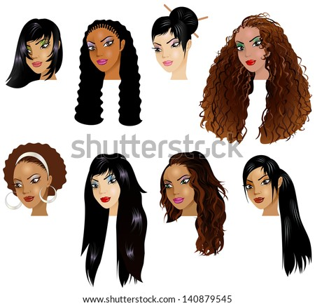 hairstyles for medium length natural hair : women raster version illustration of black women faces great for ...