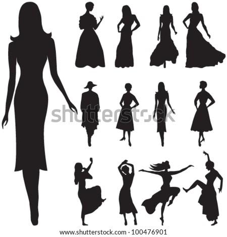 Vector illustration of black women silhouettes - stock vector
