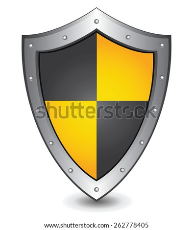 Vector illustration of black yellow shield : Security concept. - stock vector
