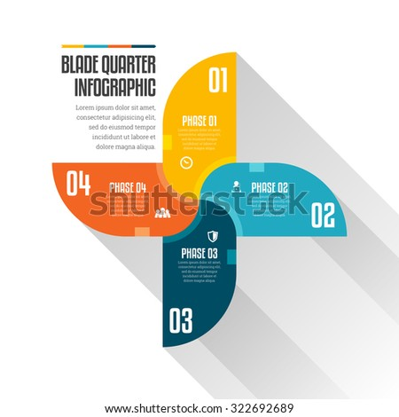 Vector illustration of blade quarter infographic design elements. - stock vector