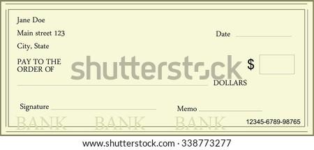 Vector Illustration Blank Bank Check Template Vector – Check Template