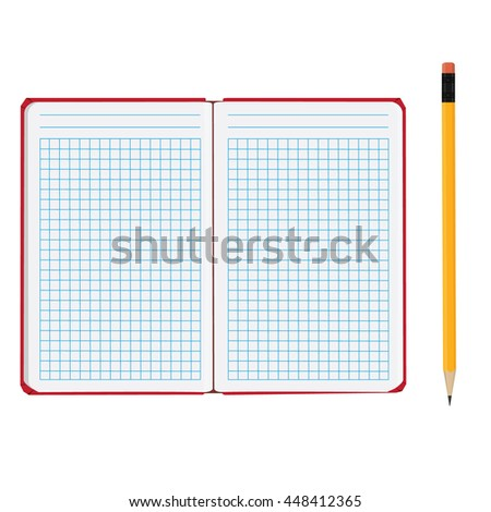 Vector illustration of blank empty notepad, notebook. Opened notebook. Lined paper and yellow pencil - stock vector