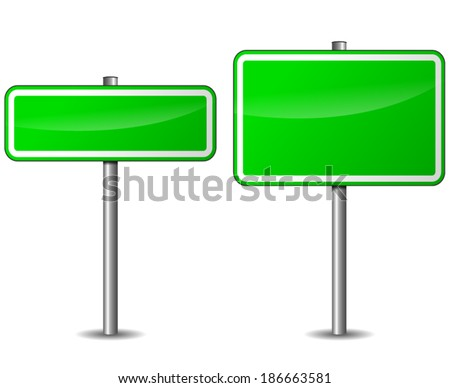 Vector illustration of blank green signpost on white background