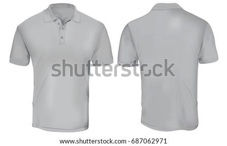 Vector Illustration Blank Grey Polo Tshirt Stock Vector 687062971 ...