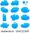 Vector illustration of blank notice blue shapes for any text. - stock vector